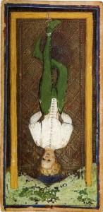 [도판 1] '매달린 사람', 비스콘티-스포르자(Visconti-Sforza) 타로키(타로) 카드, 1445년경. 뉴욕 피어몬트 모건 도서관.