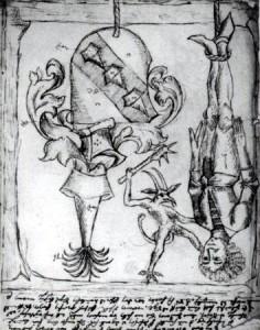 [도판 5] 사이드로와 아이작 스트라우빈저(Say+dro and Isaac Straubinger)가 한스 주드만(Hans Judmann)을 상대로 그린 샨트빌더(Schandbilder '비방화'), 1490년, 독일. 17세기에 제작된 사본. 바이에른 주립문서보관소, 뮌헨.