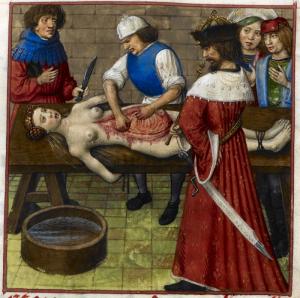 [도판 10] '아그리피나의 해부를 지켜보는 네로', 의 세밀화, 1500년경, 네덜란드. 영국국립도서관, 런던.