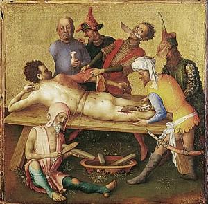 [도판 13] '성 바르톨로메오의 순교', 슈테판 로흐너,  중 한 패널, 1435년경, 목판에 혼합 재료. 슈테델 미술관, 프랑크푸르트.