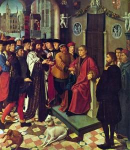[도판 1] '시삼네스의 체포', 헤라르트 다비트(Gerard David), 의 왼쪽 패널, 1498년, 나무 패널에 유채. 흐루닝에 미술관, 브뤼헤.