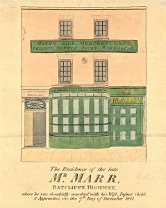 Ratcliff_Highway_Murders_-_newspaper_sketch_of_the_Marr_mercer_shop_and_residence